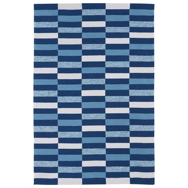 Indoor/ Outdoor Luau Blue Stripes Rug - 7'6 x 9'