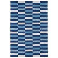 Indoor/ Outdoor Luau Blue Stripes Rug - 7'6 x 9'