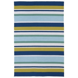 Indoor/ Outdoor Luau Multicolored Stripes Rug (3' x 5') - 3' x 5'