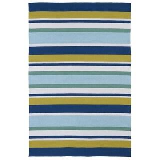 Indoor/ Outdoor Luau Multicolored Stripes Rug (3' x 5') - 3' x 5'