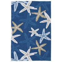 Havenside Home Shi Shi Blue Starfish Print Indoor/ Outdoor Area Rug (7'6 x 9')