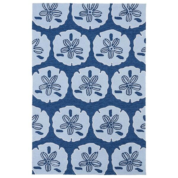 'Luau' Blue Sand Dollar Print Indoor/ Outdoor Rug (3' x 5') - 3' x 5'
