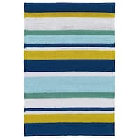 Indoor/ Outdoor Luau Multicolored Stripes Rug - 2' x 3'