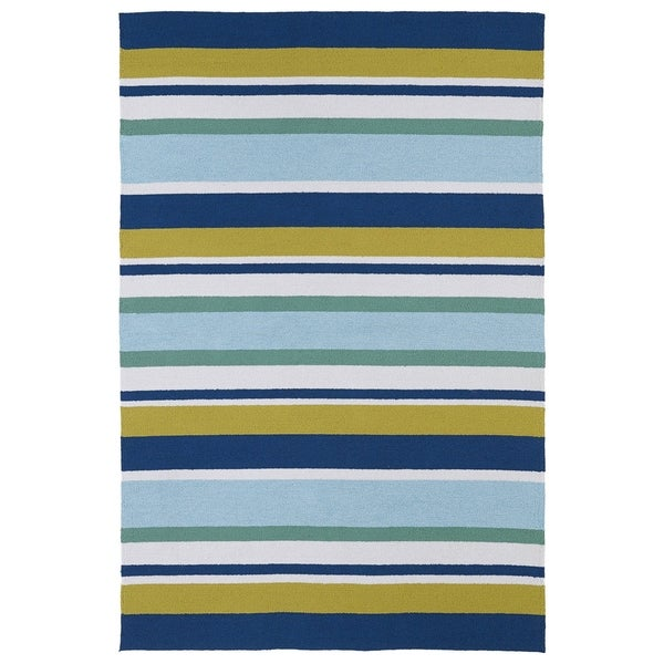 Indoor/ Outdoor Luau Multicolored Stripes Rug - 7'6 x 9'