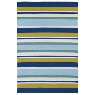 "Indoor/ Outdoor Luau Multicolored Stripes Rug (8'6 x 11'6) - 8'6"" x 11'6"""