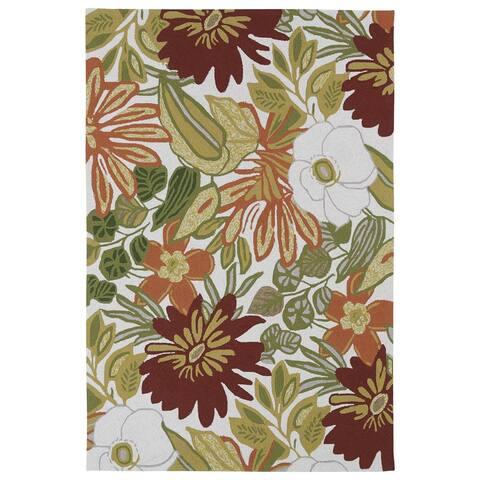 "Indoor/ Outdoor Luau Multicolored Jungle Rug (7'6 x 9') - 7'6"" x 9'"