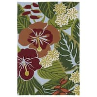 Indoor/ Outdoor Luau Blue Jungle Rug - 7'6 x 9'
