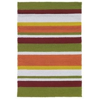 Indoor/ Outdoor Luau Multicolored Stripes Rug (2' x 3') - 2' x 3'