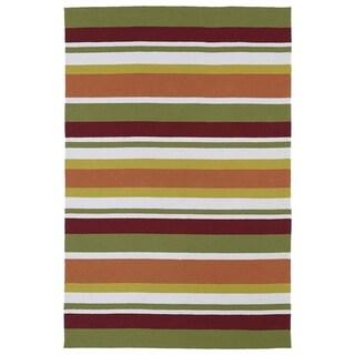 Indoor/ Outdoor Luau Multicolored Stripes Rug - 3' x 5'