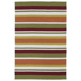 "Indoor/ Outdoor Luau Multicolored Stripes Rug (7'6 x 9') - 7'6"" x 9'"