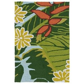 Luau Blue/ Green Indoor/ Outdoor Jungle Rug (2' x 3')