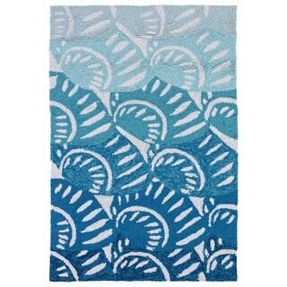 Indoor/ Outdoor Luau Blue Seashell Rug - 2' x 3'