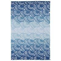 Indoor/ Outdoor Luau Blue Seashell Rug - 7'6 x 9'