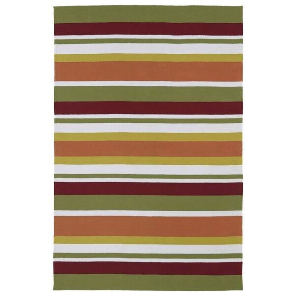 Indoor/ Outdoor Luau Multicolored Stripes Rug - 8'6 x 11'6