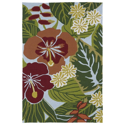 Luau Blue Indoor/ Outdoor Jungle Rug - 3' x 5'