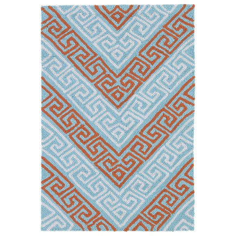 Indoor/ Outdoor Luau Light Blue Chevron Rug - 2' x 3'