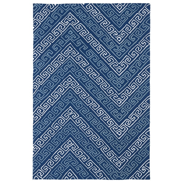 Indoor/ Outdoor Luau Blue Chevron Rug (3' x 5') - 3' x 5'