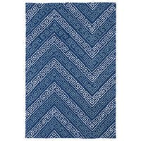 Indoor/ Outdoor Luau Blue Chevron Rug - 7'6 x 9'