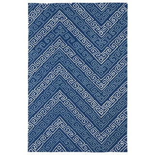 "Indoor/ Outdoor Luau Blue Chevron Rug (8'6 x 11'6) - 8'6"" x 11'6"""
