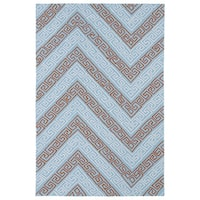 Indoor/ Outdoor Luau Light Blue Chevron Rug - 3' x 5'
