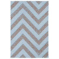 Indoor/ Outdoor Luau Light Blue Chevron Rug - 7'6 x 9'