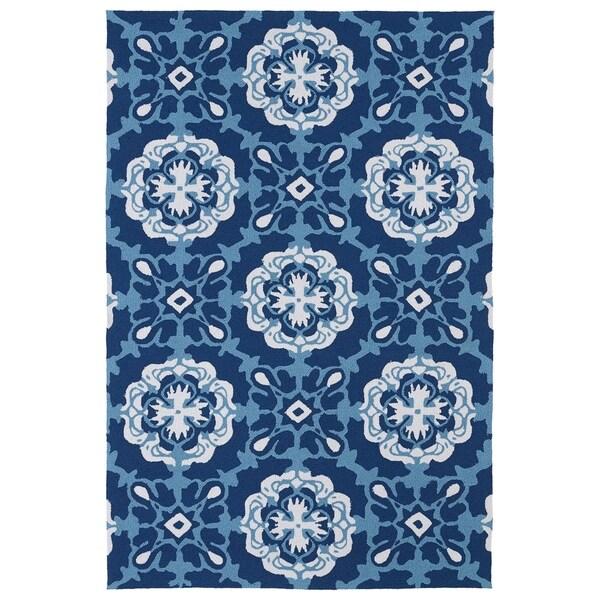 Indoor/ Outdoor Luau Blue Paradise Rug - 7'6 x 9'