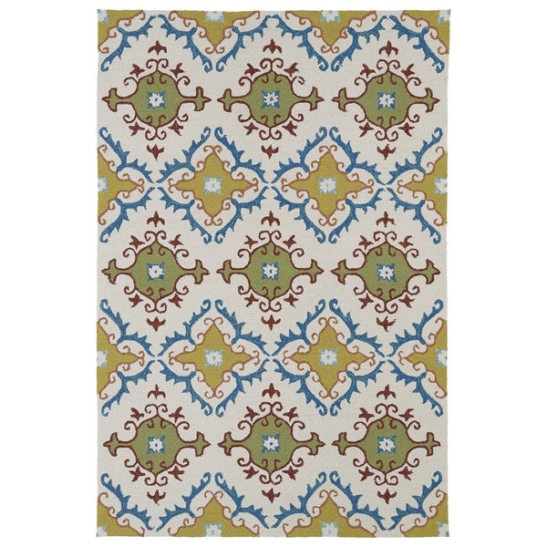 Indoor/ Outdoor Fiesta Tiles Ivory Rug - 9' x 12'