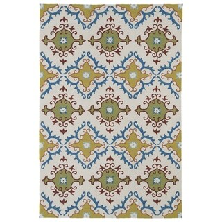 Indoor/ Outdoor Fiesta Tiles Ivory Rug (9' x 12')