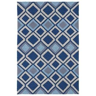 Indoor/ Outdoor Fiesta Moroccan Blue Rug (7'6 x 9')
