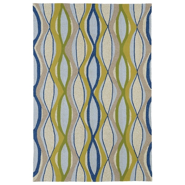 Indoor/ Outdoor Fiesta Waves Multicolored Rug (7'6 x 9') - 7'6 x 9'