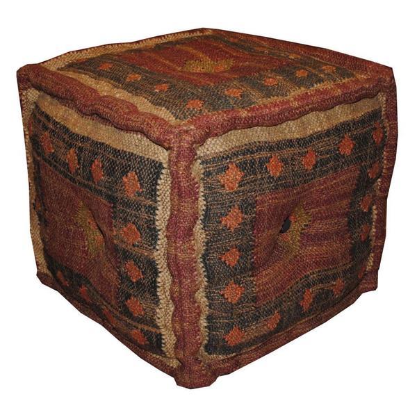 Handmade Kilim Upholstered Ottoman Pouf (India)