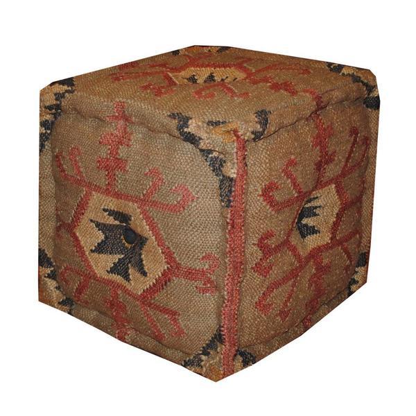 Handmade Kilim Upholstered Puff Ottoman (India)