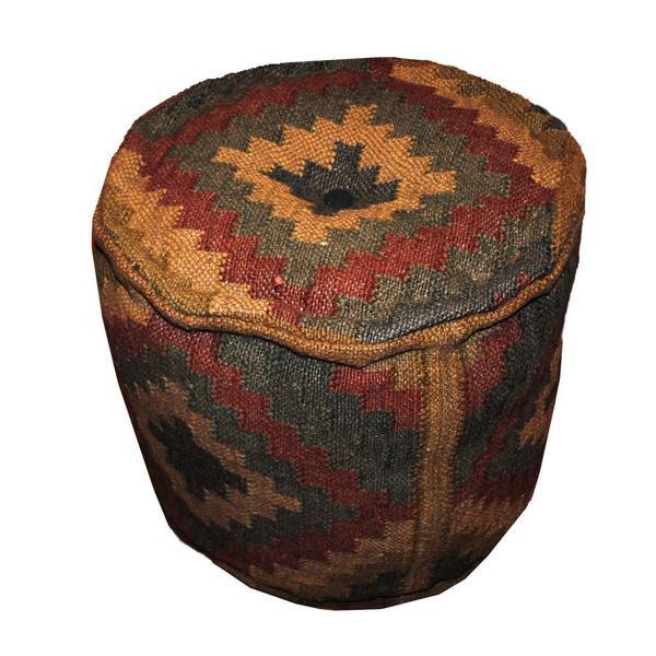 Handmade Kilim Upholstered Round Ottoman Pouf (India)