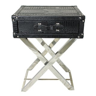 Croco-embossed Faux Leather Wrapped Folding Accent End Table