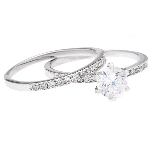 35f13b2d75cbc Shop Silver 1.69ct 2-piece CZ Wedding/Bridal Set by Simon Frank ...