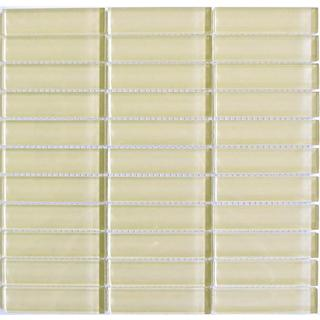 Almond Beige 1 x 4-inch Mosaic Glass Tile Sheet (Pack of 10)