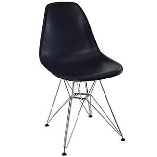 Paris Plastic Eames-Style Black with Chrome Wire Base Side Chair