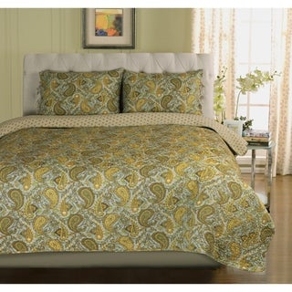 Superior Moroccan Paisley Cotton 3-piece Quilt Set
