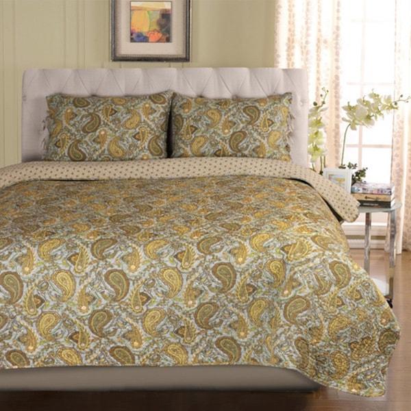 Superior Moroccan Paisley Cotton 3-piece Quilt Set
