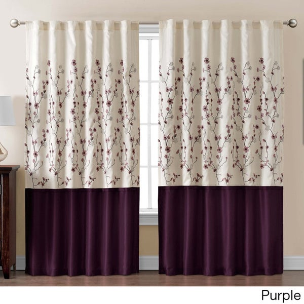 Vcny Sidney Embroidered Color Block 84 Inch Curtain Panel