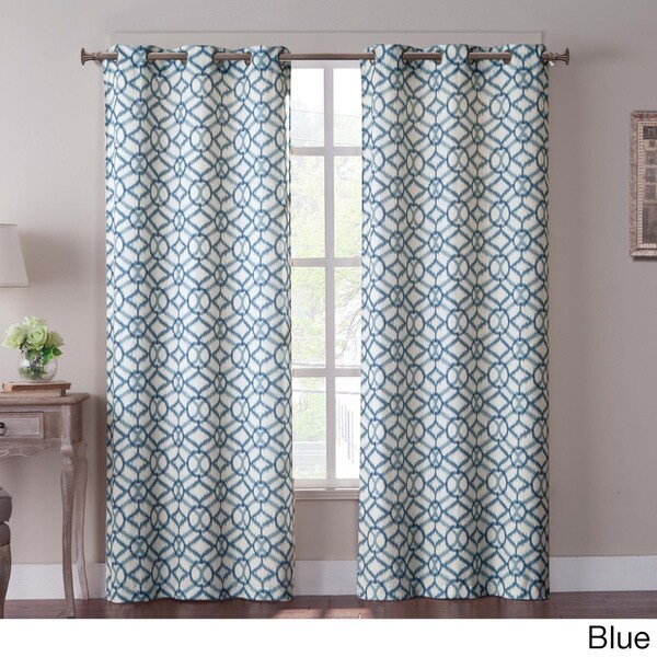 VCNY Tanjiers Ikat Grommet 84-inch Curtain Panel Pair - 76 x 84