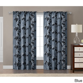 VCNY Barclay Flocked with Metallic 84-inch Grommet Curtain Panel - 55 x 84