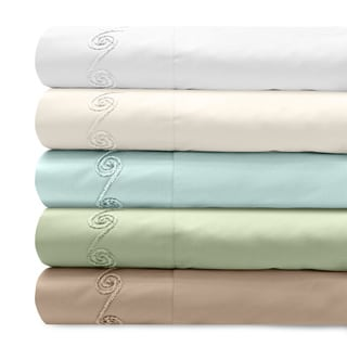 Grand Luxe 300 Thread Count Egyptian Cotton Sateen Sheet Set with Chenille Embroidered Swirl Design