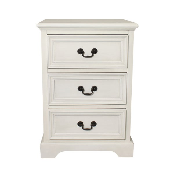 Antique White 3-drawer Solid Wood Nightstand