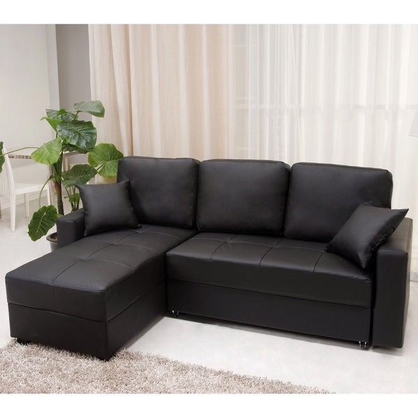 Aspen black convertible sectional storage sofa bed free for Sectional sofa bed overstock