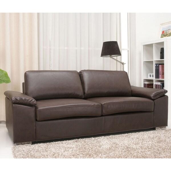 Hampton Coffee Bonded Leather Sofa