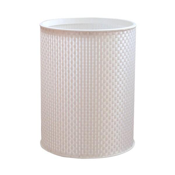 Basketweave White Round Bath Wastebasket
