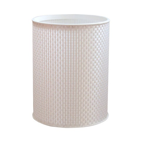 Basketweave White Round Bath Wastebasket