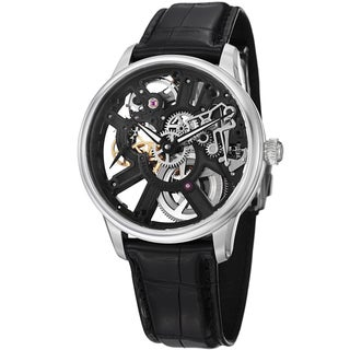 Maurice Lacroix Men's MP7228-SS001-000 MP7228-SS001-000 'MasterPiece' Black Skeleton Leather Strap W