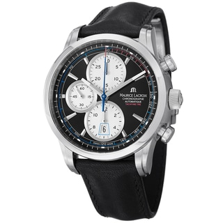 Maurice Lacroix Men's PT6288-SS001-330 PT6288-SS001-330 'Pontos' Chronograph Black Leather Strap Watch